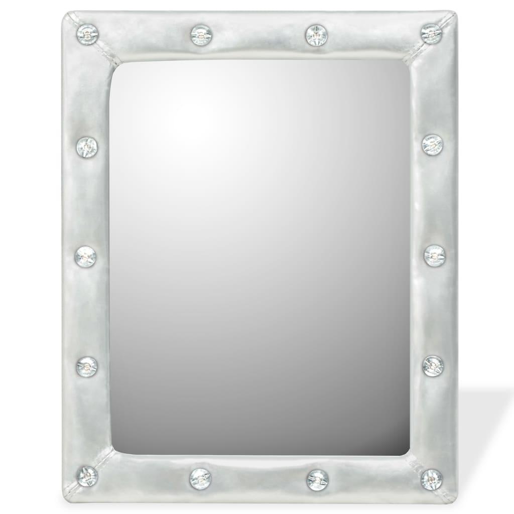 vidaXL Nástěnné zrcadlo z umělé kůže, 40 x 50 cm, lesklé stříbrné