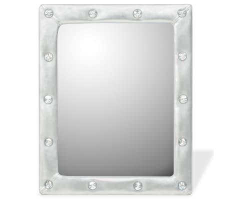 119ca496 Shop vidaXL Veggspeil kunstlær 40x50 cm blank sølv   vidaXL.no