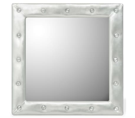 vidaXL Wall Mirror Artificial Leather 60x60 cm Glossy Silver[1/4]