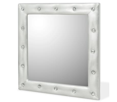 vidaXL Wall Mirror Artificial Leather 60x60 cm Glossy Silver[2/4]