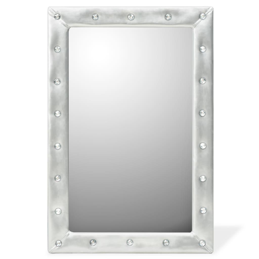 vidaXL Καθρέφτης Τοίχου Γυαλιστερό Ασημί 60 x 90 εκ. Συνθετικό Δέρμα