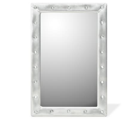 vidaXL Specchio da Parete in Pelle Sintetica 60x90 cm Argento Lucido ...