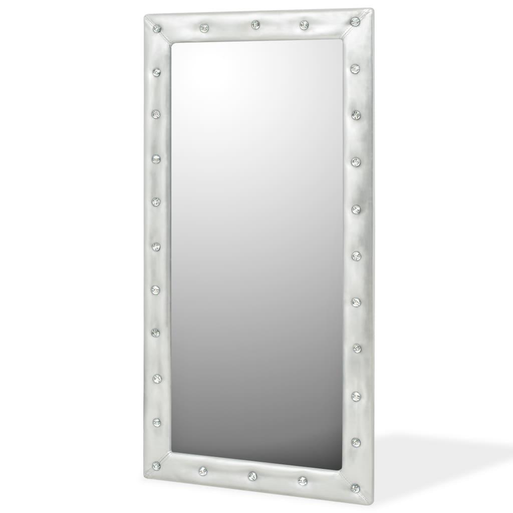 vidaXL Oglindă perete, piele artificială, 60x120 cm, argintiu lucios poza vidaxl.ro
