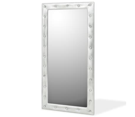 vidaXL Seinäpeili keinonahka 60x120 cm kiiltävä hopea[1/5]