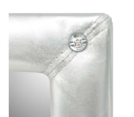 vidaXL Seinäpeili keinonahka 60x120 cm kiiltävä hopea[4/5]