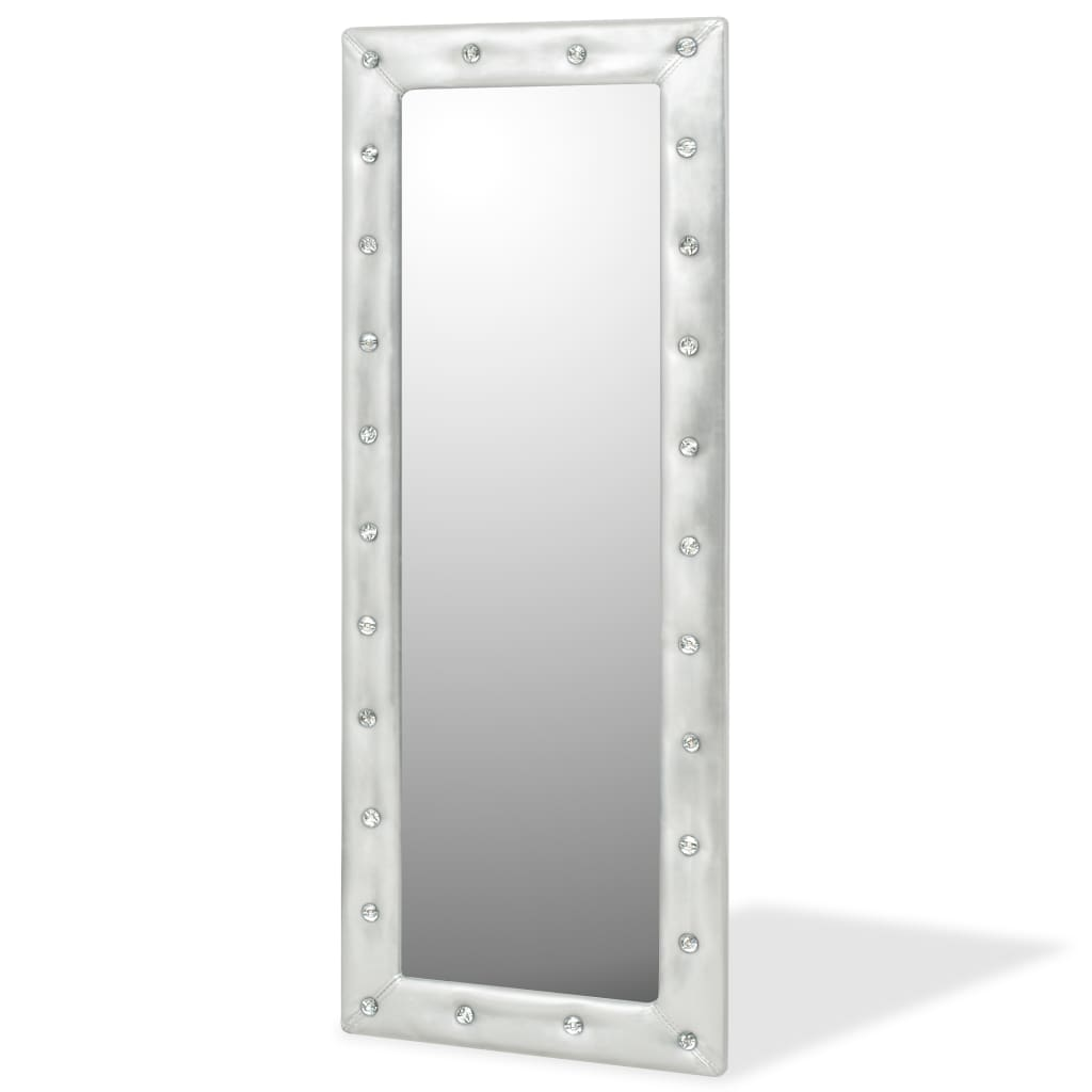 vidaXL Wandspiegel 50x140 cm kunstleer glanzend zilver