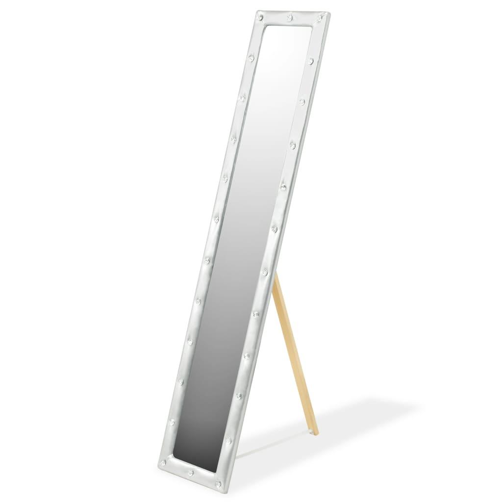 vidaXL Stojací zrcadlo z umělé kůže, 30 x 150 cm, lesklé stříbrné
