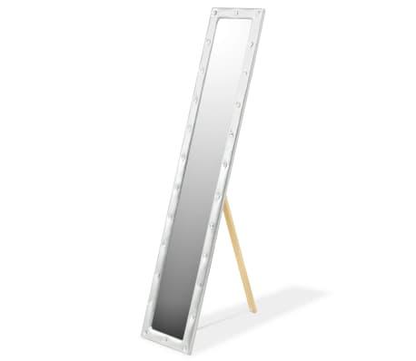 vidaXL Frittstående speil kunstlær 30x150 cm blank sølv