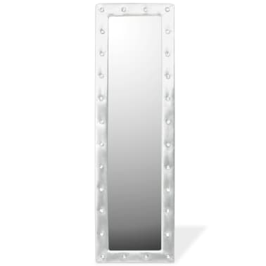 vidaXL Freestanding Mirror Artificial Leather 45x150 cm Glossy Silver[3/6]