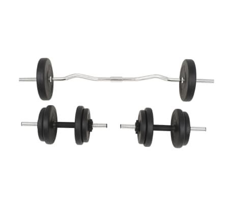 vidaXL Juego de pesas 30 kg barra y mancuernas[2/10]