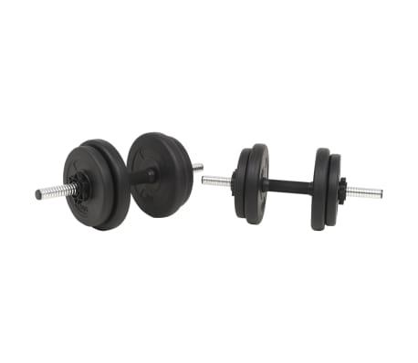 vidaXL Juego de pesas 30 kg barra y mancuernas[4/10]