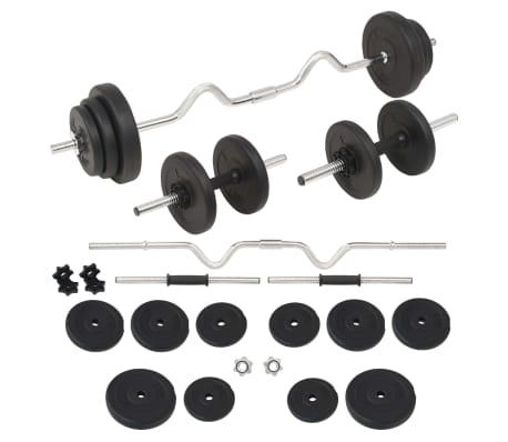 vidaXL Ensemble d'haltères et barres d'haltères 30 kg