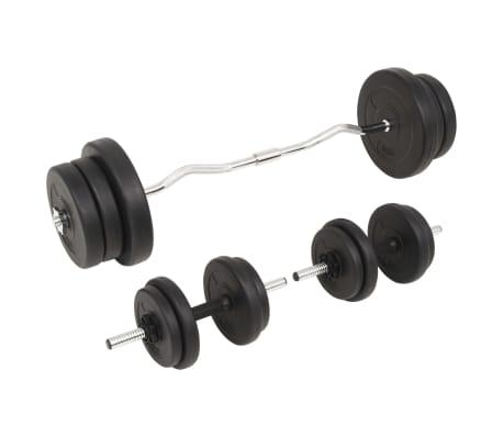 vidaXL Juego de pesas 60 kg barra y mancuernas[3/9]