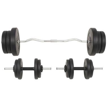vidaXL Juego de pesas 60 kg barra y mancuernas[2/9]