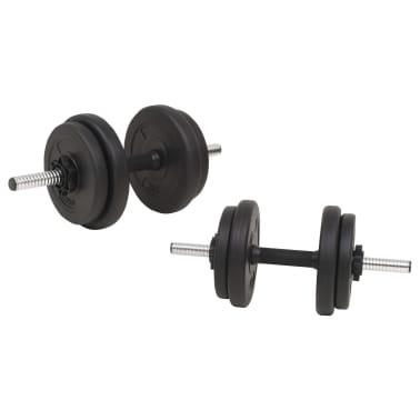 vidaXL Juego de pesas 60 kg barra y mancuernas[4/9]