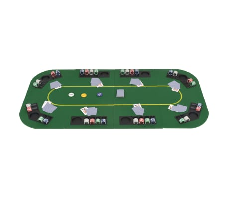 vidaXL Dessus de table de poker 8 joueurs 4 plis rectangulaire Vert[3/9]