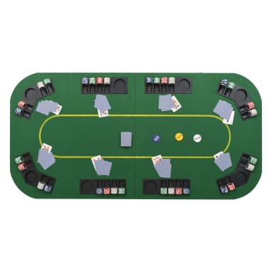 vidaXL Dessus de table de poker 8 joueurs 4 plis rectangulaire Vert[4/9]
