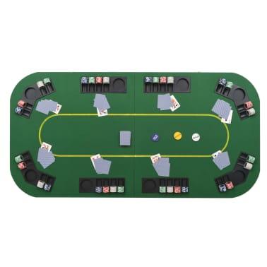 vidaXL Dessus de table de poker 8 joueurs 4 plis rectangulaire Vert[9/9]