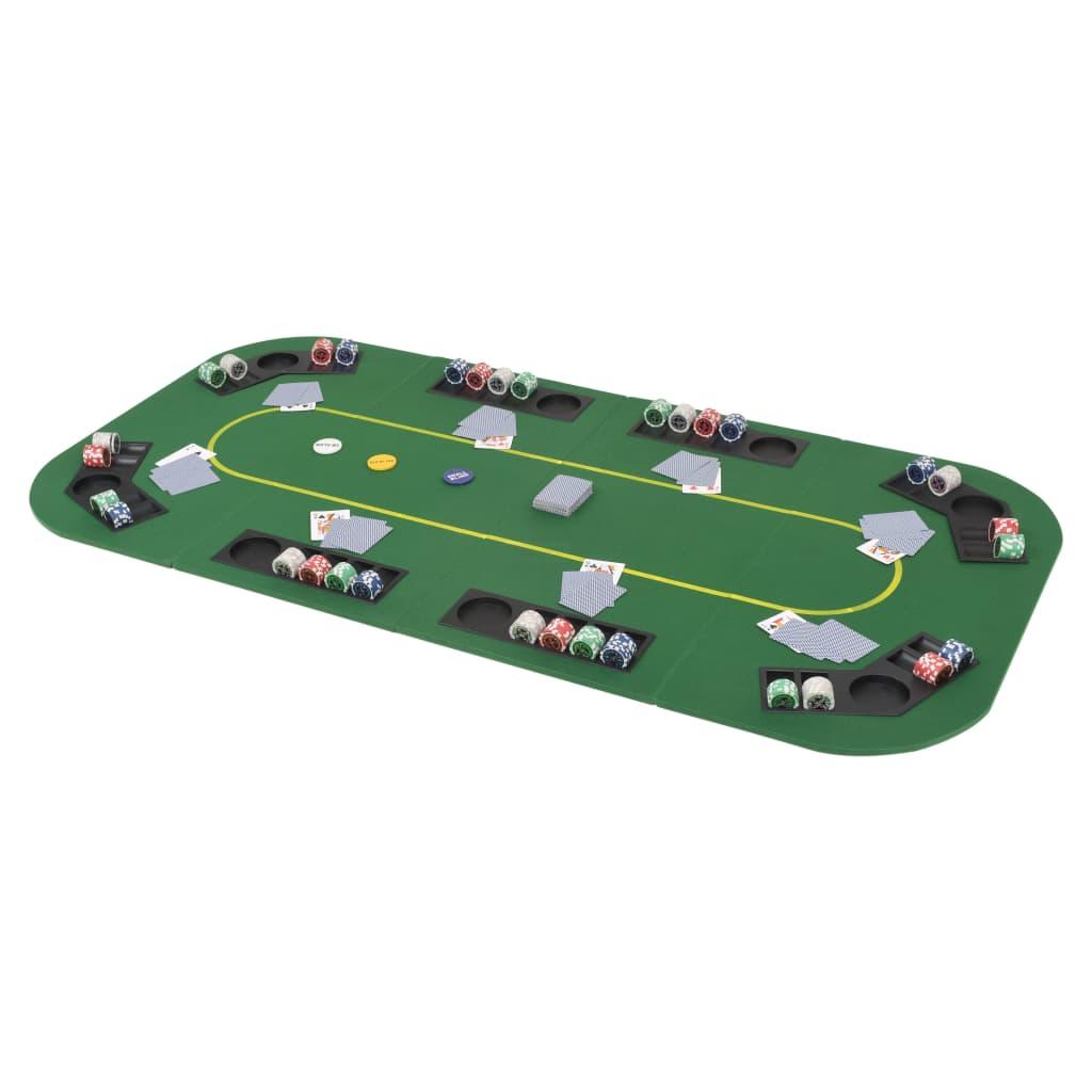 vidaXL Skládací pokerová deska na stůl 4dílná obdélníková zelená