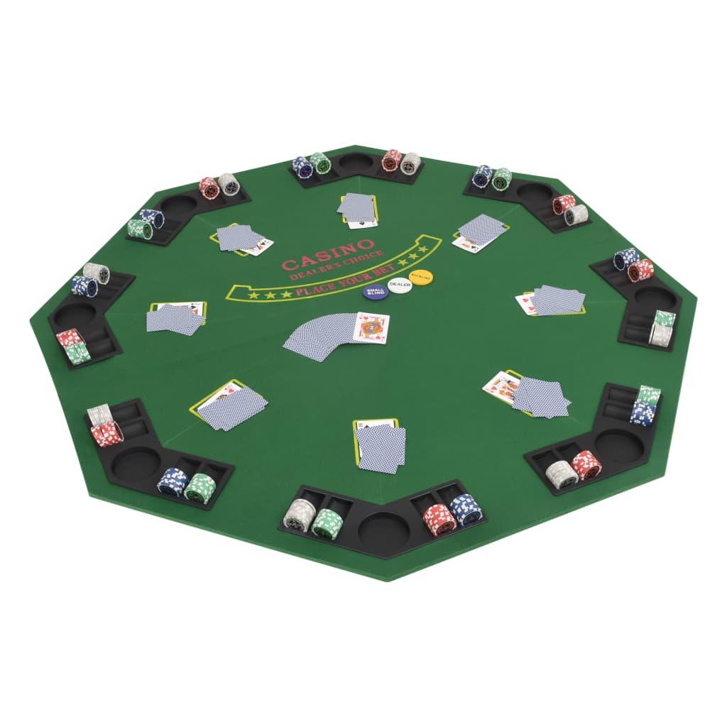 vidaXL Skládací pokerová deska na stůl 2dílná osmiúhelníková zelená