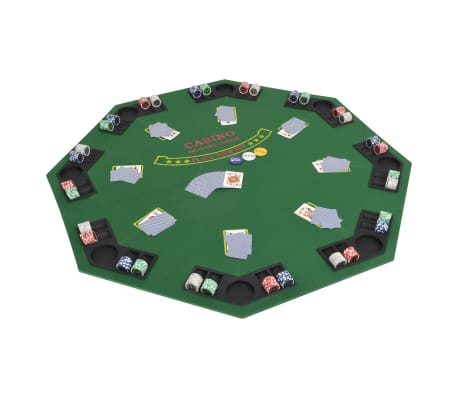vidaXL Poker tafelblad voor 8 spelers 2-voudig inklapbaar groen[1/6]