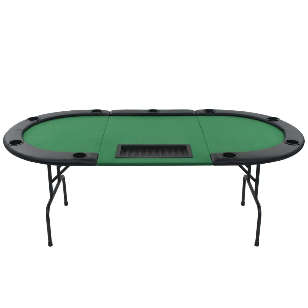 9980210 9-Spieler Poker Falttisch 3-fach Faltbar Oval Grün