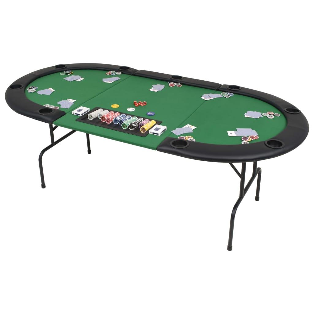 vidaXL Skládací pokerový stůl pro 9 hráčů 3 díly oválný zelený