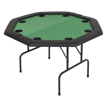 vidaXL Pokerio stalas, sulankst., 8 žaid., 2d., aštuonkampis, žalias[2/6]