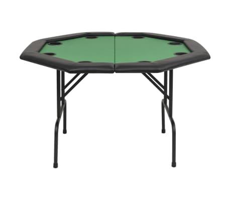 vidaXL Pokerio stalas, sulankst., 8 žaid., 2d., aštuonkampis, žalias[3/6]