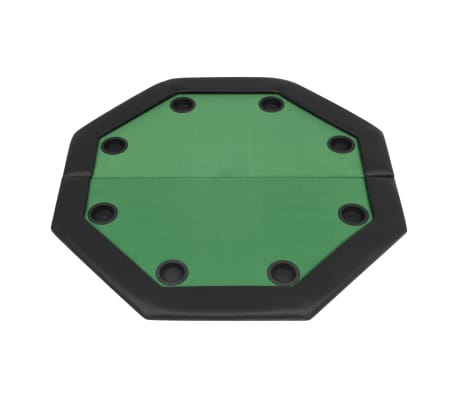 vidaXL Pokerio stalas, sulankst., 8 žaid., 2d., aštuonkampis, žalias[4/6]
