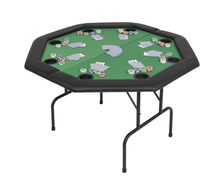 vidaXL Pokerio stalas, sulankst., 8 žaid., 2d., aštuonkampis, žalias[1/6]
