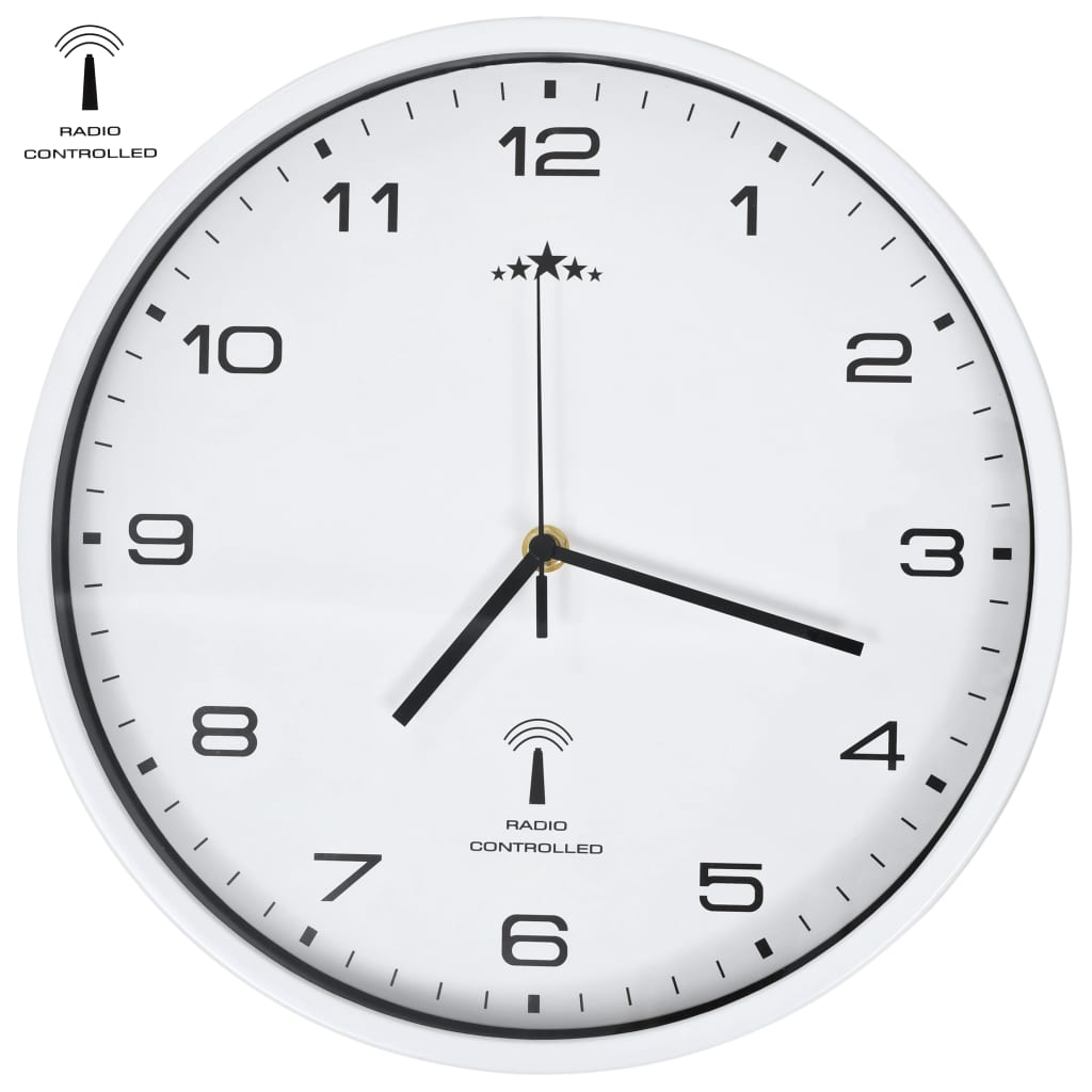 vidaXL Ceas de perete controlat prin semnal radio, cuarț, alb, 31 cm vidaxl.ro