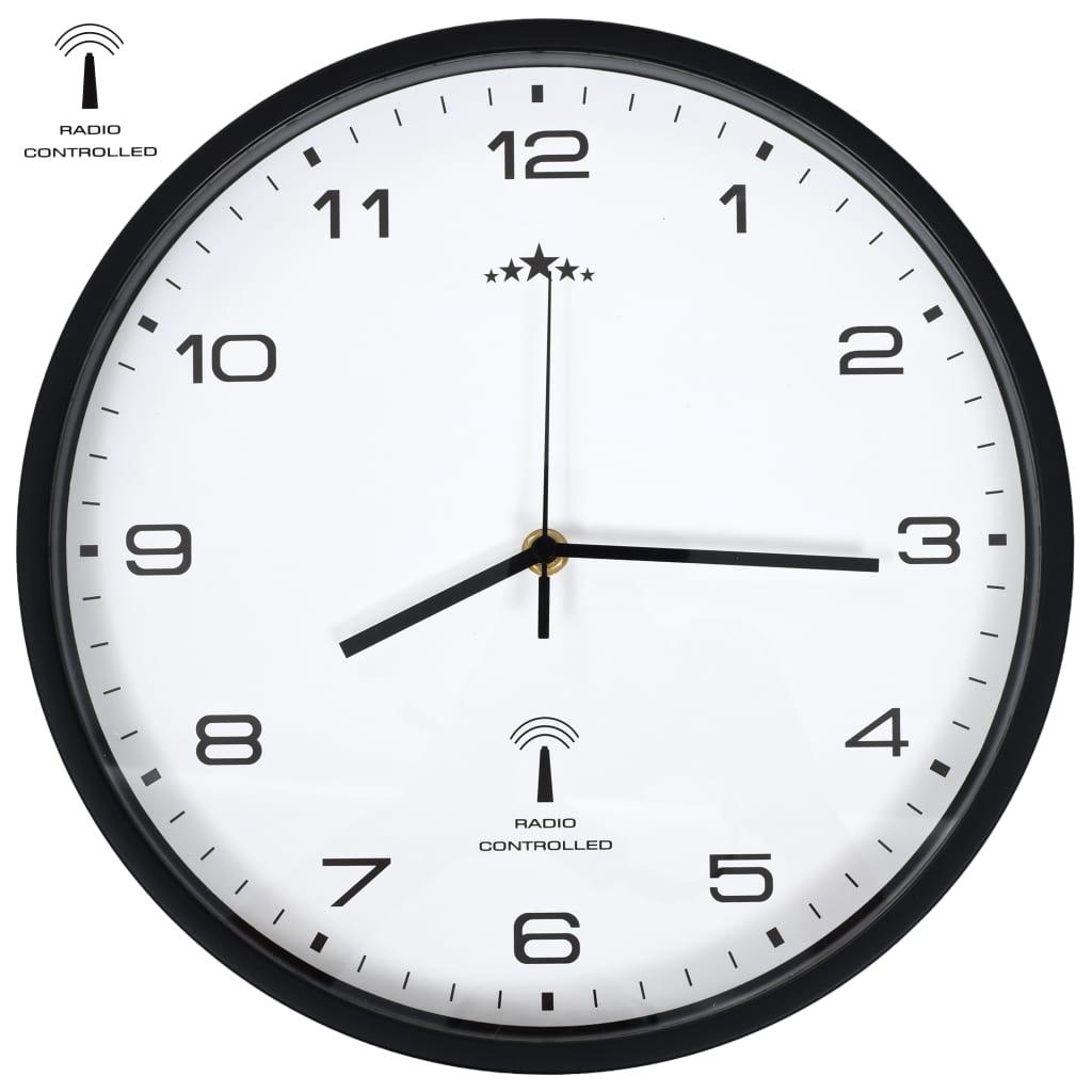 vidaXL Ceas de perete control semnal radio, alb & negru, 31 cm, cuarț poza 2021 vidaXL