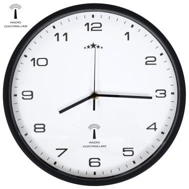 vidaXL Rádiom ovládané nástenné hodiny, strojček Quartz,biele a čierne[1/6]