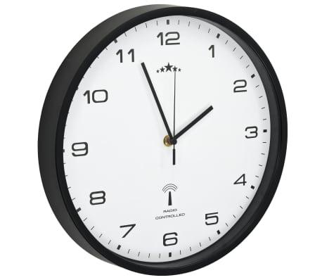 vidaXL Rádiom ovládané nástenné hodiny, strojček Quartz,biele a čierne[4/6]