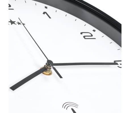 vidaXL Rádiom ovládané nástenné hodiny, strojček Quartz,biele a čierne[5/6]