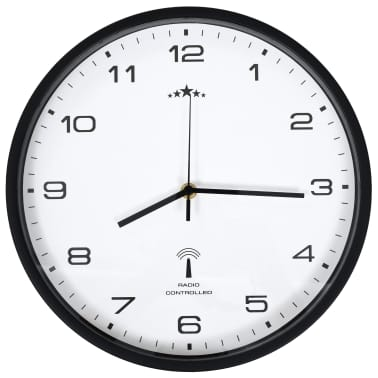 vidaXL Rádiom ovládané nástenné hodiny, strojček Quartz,biele a čierne[3/6]