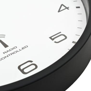 vidaXL Rádiom ovládané nástenné hodiny, strojček Quartz,biele a čierne[6/6]