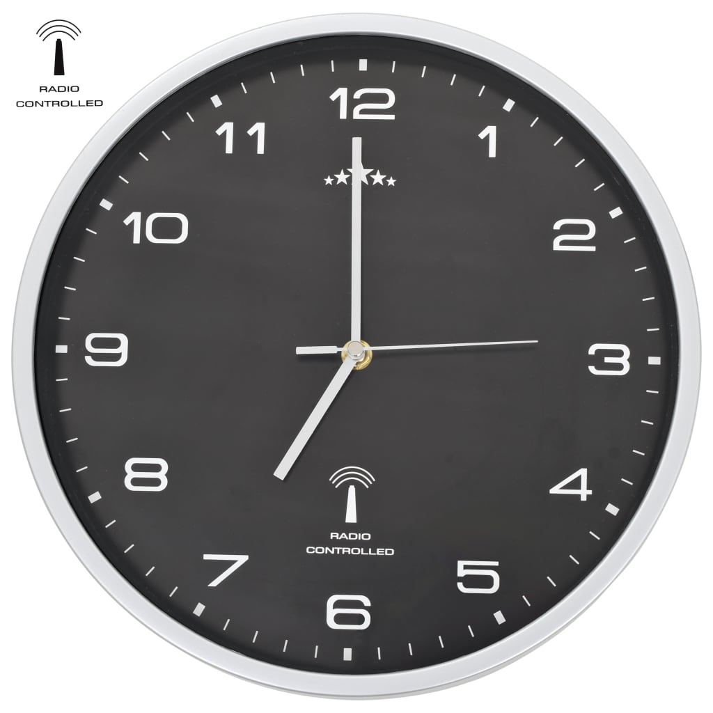 vidaXL Rádiem řízené nástěnné hodiny se strojkem Quartz 31 cm černé