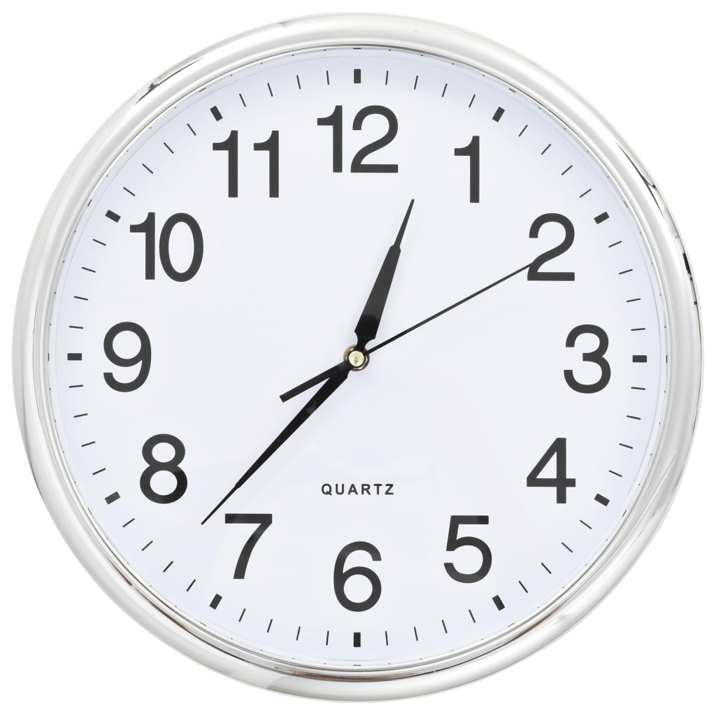 vidaXL Nástěnné hodiny se strojkem Quartz 36 cm stříbrné