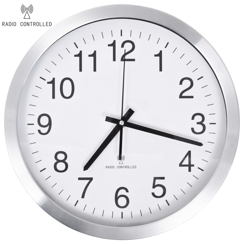 vidaXL Ceas de perete controlat prin semnal radio, 35 cm, metal vidaxl.ro