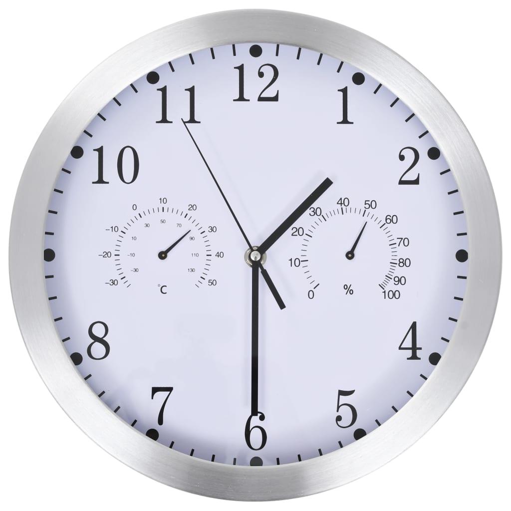 vidaXL Ceas perete, mecanism cuarț, higrometru/termometru, alb, 30 cm poza 2021 vidaXL