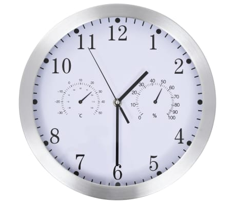 vidaXL Wall Clock with Quartz Movement Hygrometer and Thermometer 30 cm White