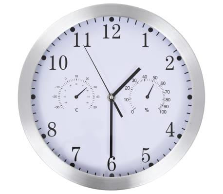vidaXL Ceas perete, mecanism cuarț, higrometru/termometru, alb, 30 cm