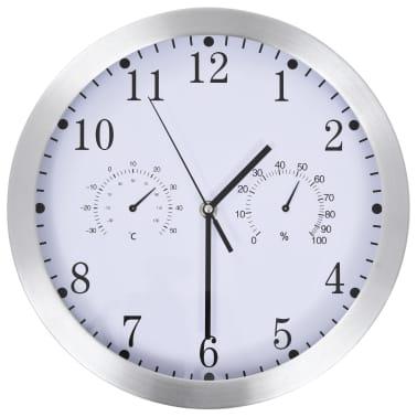 vidaXL Wanduhr mit Quarzwerk, Hygrometer und Thermometer 30 cm Weiß[1/6]
