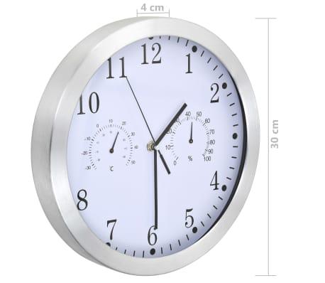 vidaXL Wanduhr mit Quarzwerk, Hygrometer und Thermometer 30 cm Weiß[5/6]