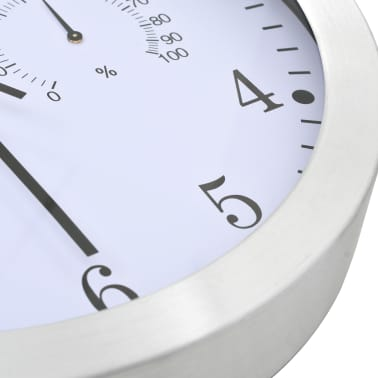 vidaXL Wanduhr mit Quarzwerk, Hygrometer und Thermometer 30 cm Weiß[4/6]