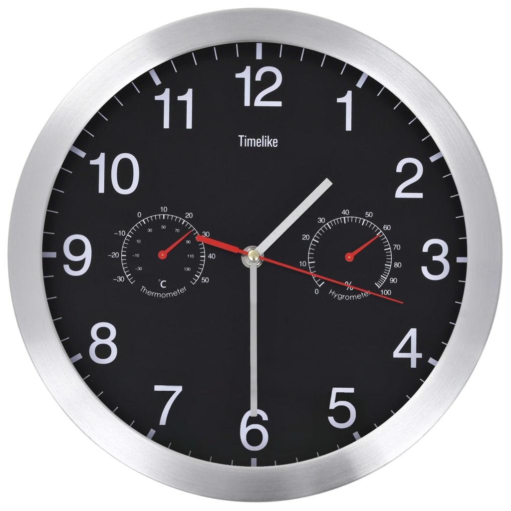 vidaXL Ceas perete mecanism cuarț, higrometru/termometru, negru, 30 cm poza 2021 vidaXL