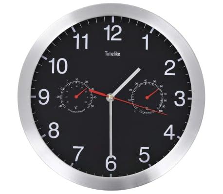 vidaXL Ceas perete mecanism cuarț, higrometru/termometru, negru, 30 cm