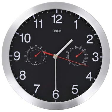 vidaXL vægur med kvarts-urværk hygrometer og termometer 30 cm sort[1/6]